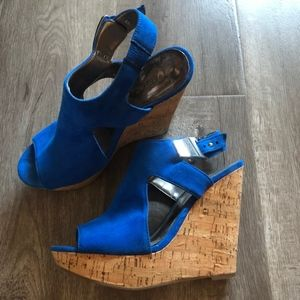 Royal Blue Cork Wedge Shoes